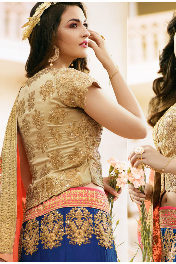 Blue and Beige Raw Silk Heavy  Wedding Lehenga