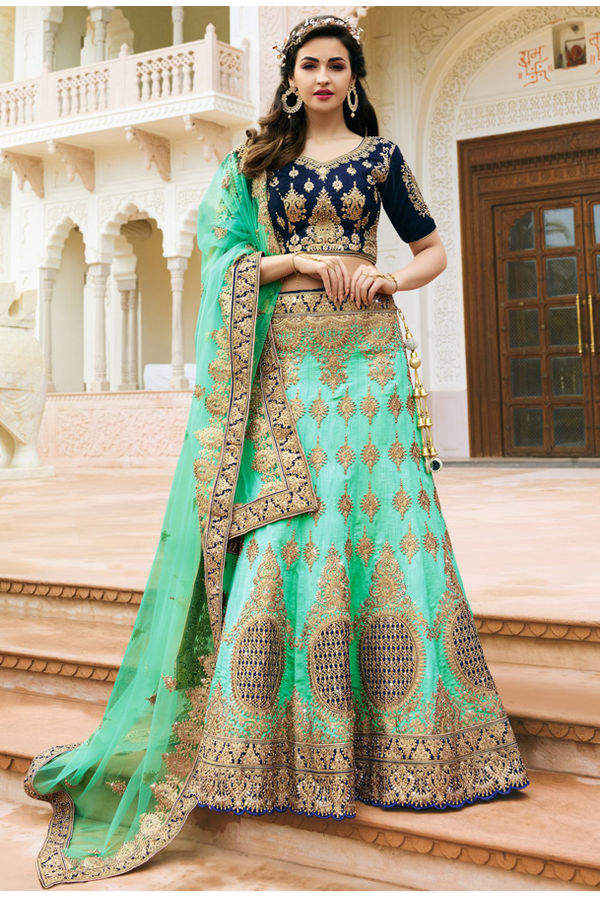 Blue and Sea Green Raw Silk Heavy  Wedding Lehenga