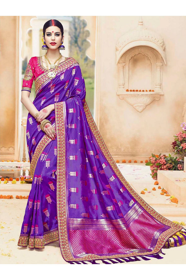 Purple  Color Kanjivaram Wedding Saree