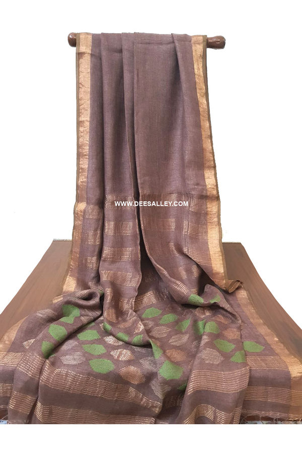Dee's Alley  Pure Linen by Linen = Saree with  Jamdani Work