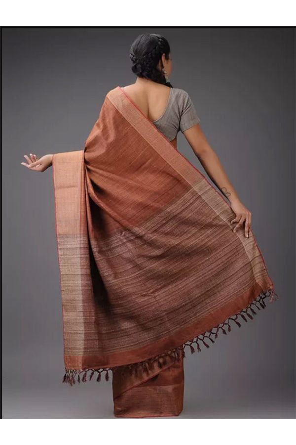 Dee's Alley Brown Eri-Tussar Silk Saree with Ghicha Pallu