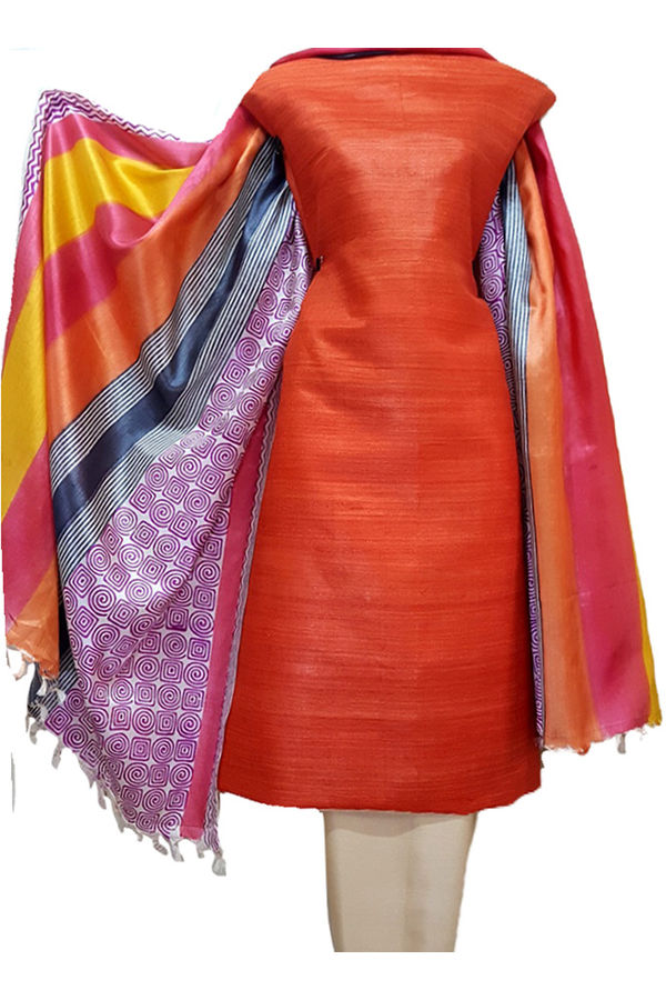 Coral Red Tussar Silk Material R 54