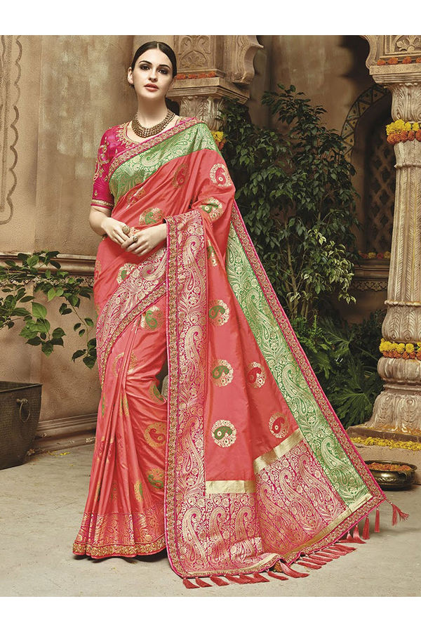 Coral green Kanjeevaram silk saree with embroidery