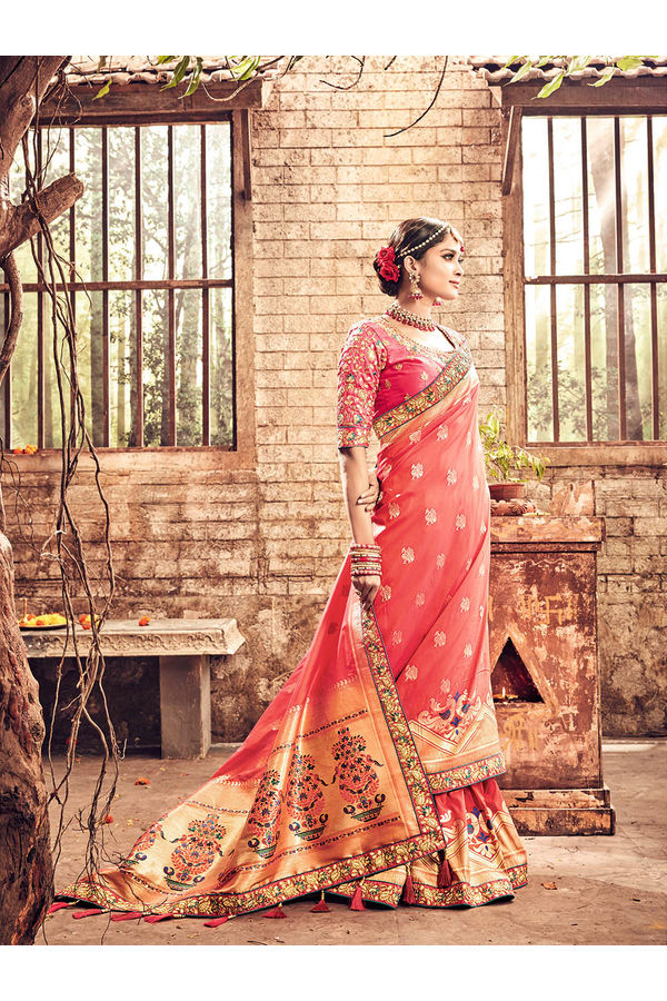 Banarasi Silk Wedding saree with Meenakari weave in Coral Pink Color