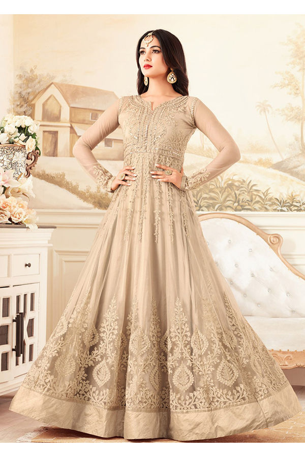 Beige Wedding Wear Net Anarkali Suit