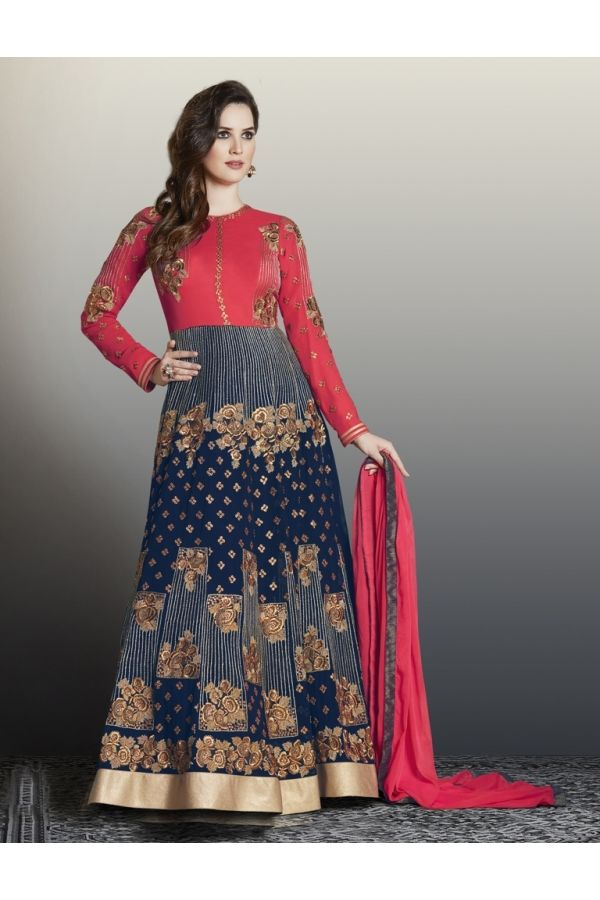 Blue Red  Georgette Floor Length Anarkali Suit