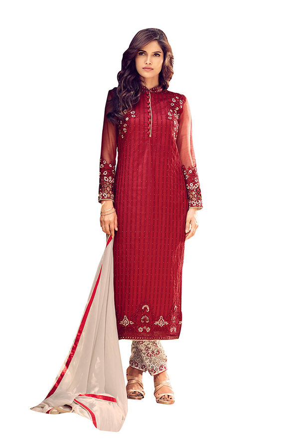 Georgette  Party Wear Salwar Kameez in Red Color