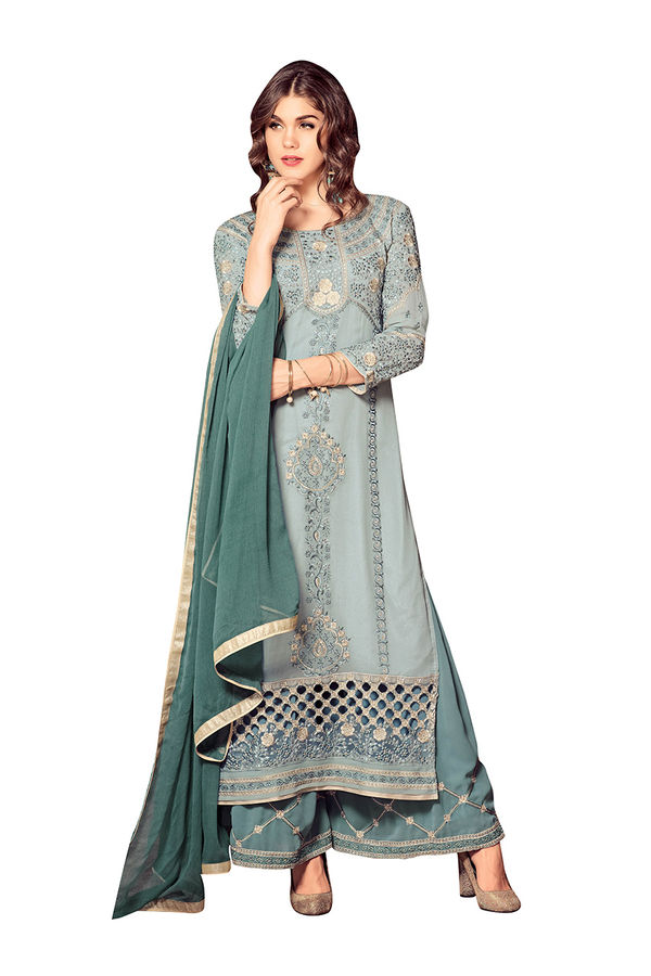 Teal Green color  Georgette  Palazzo Salwar Kameez