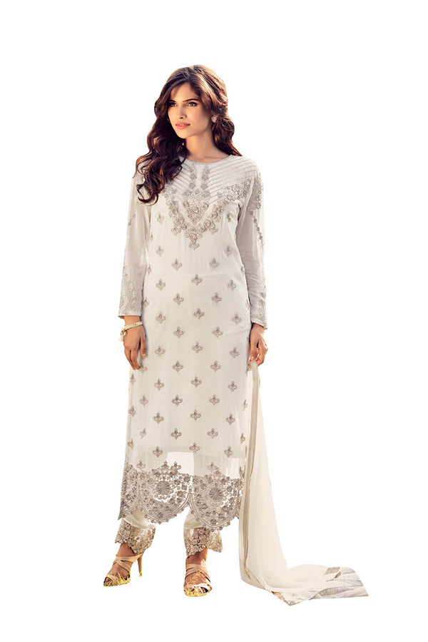 Georgette Party Wear Salwar Kameez in White  Color