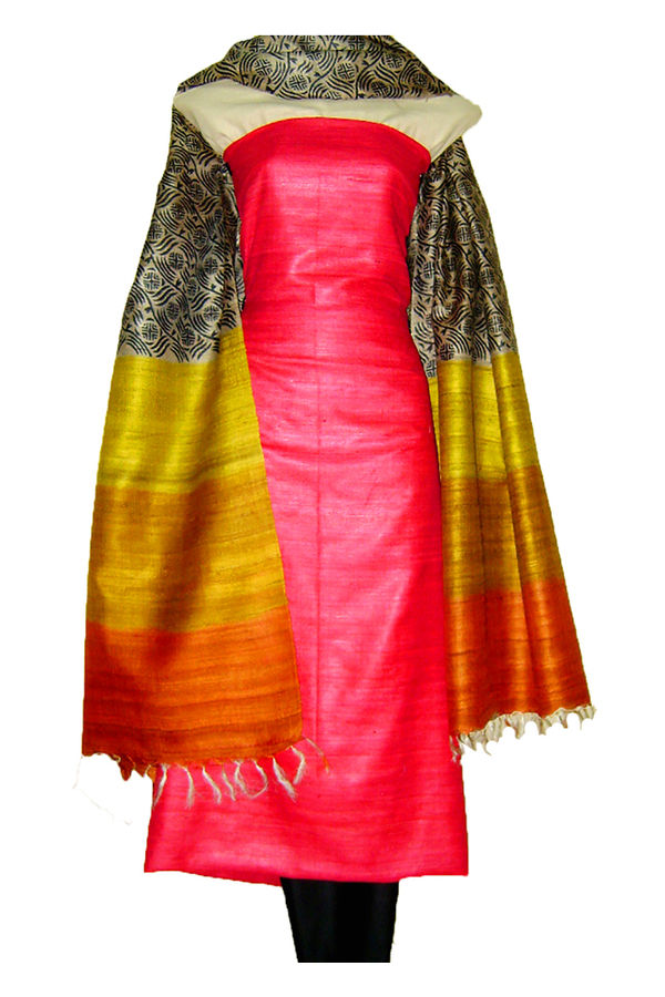Tussar Silk Suit in Red Shade with Shaded Dupatta