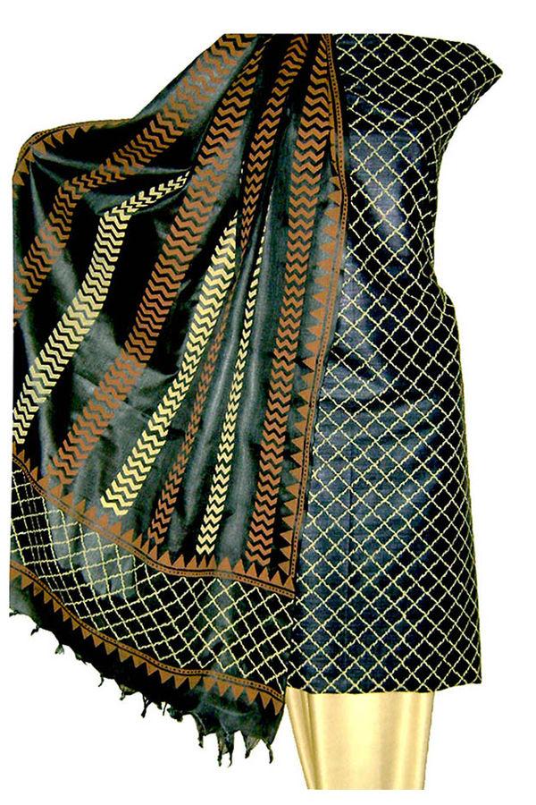 Printed Tussar Silk Dress Material _95