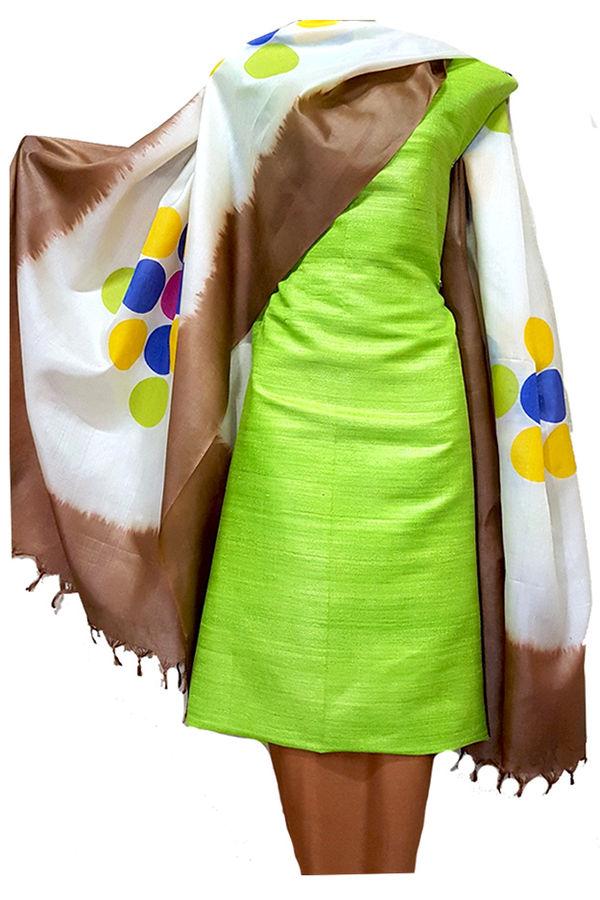 Green Pure Tussar Gicha Silk Salwar Suit Material