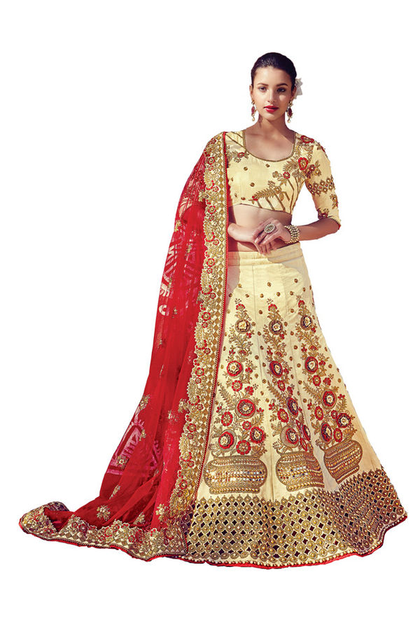 Pastel Yellow Color Party wear Art Silk Embroidered Lehenga