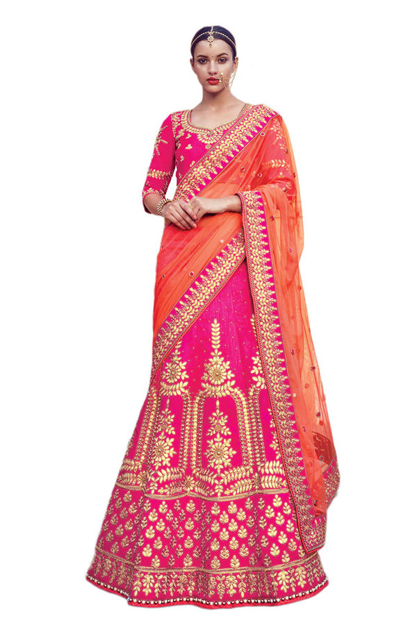 Magaenta Pink Party wear Art Silk Embroidered Lehenga