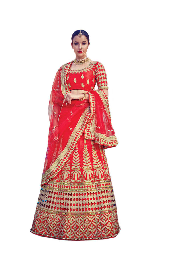 Red Color Party wear Art Silk Embroidered Lehenga