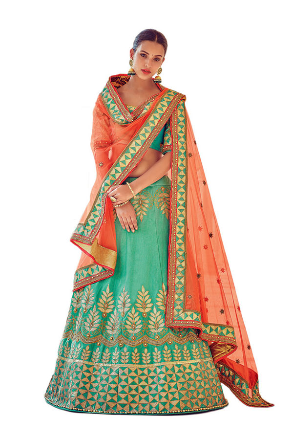 Sea Green Party wear Art Silk Embroidered Lehenga