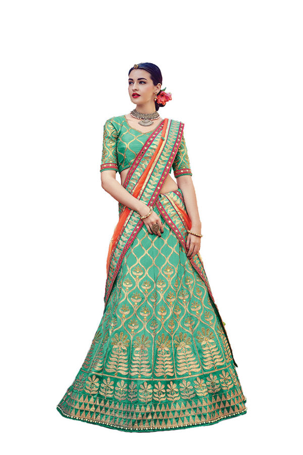 Green Party wear Art Silk Embroidered Lehenga