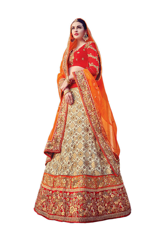 Red and Beige Party wear Art Silk Embroidered Lehenga