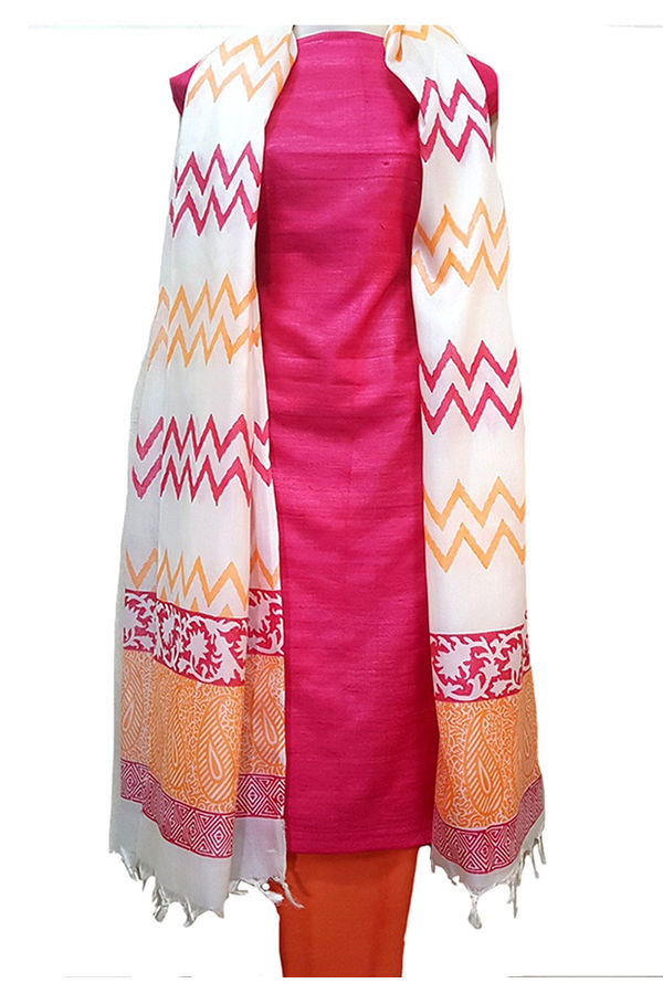 Pure Tussar Gicha Silk Salwar Suit Material_Coral Red