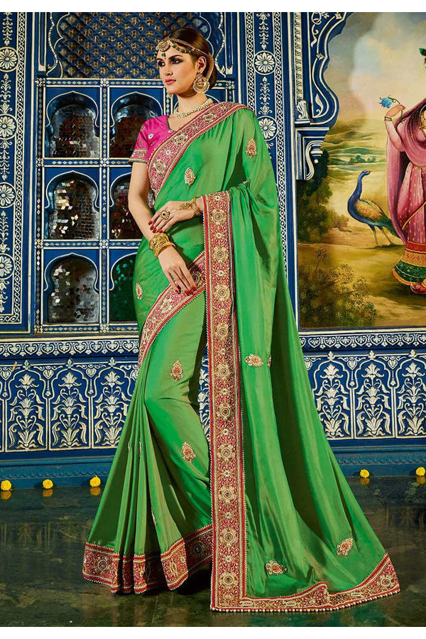 Designer  Green Wedding Saree in  Satin and Art Silk _1