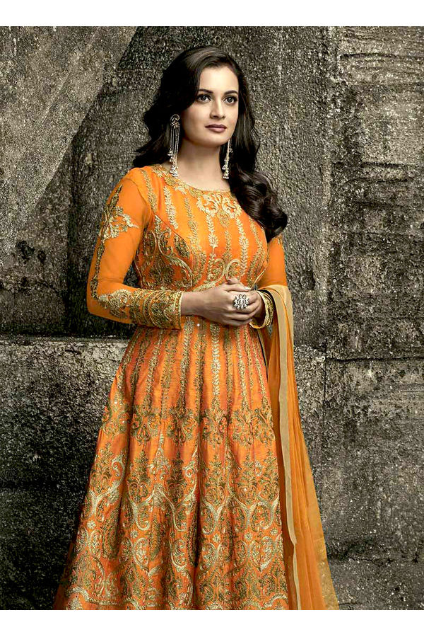 Diya Mirza in Orange  Color Embroidered  Anarkali Salwar Suit