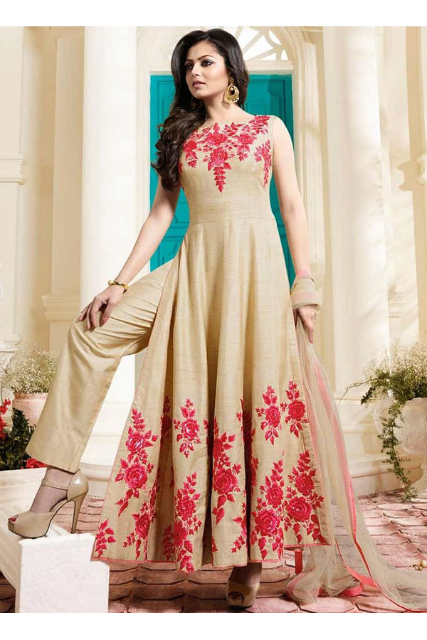 Drashti Dhami Embroidered Long Anarkali Suit_1