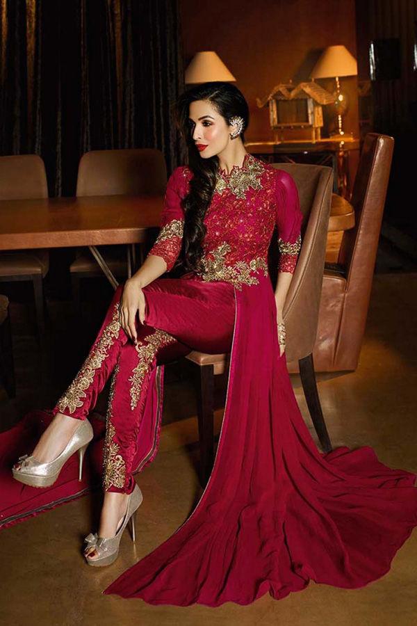 Malaika Arora Maroon  Georgette Front Slit Designer Suit