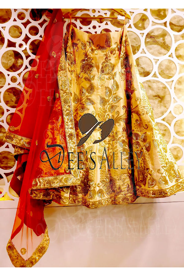 Golden Color Raw Silk Designer Lehenga with Hand work Embroidery