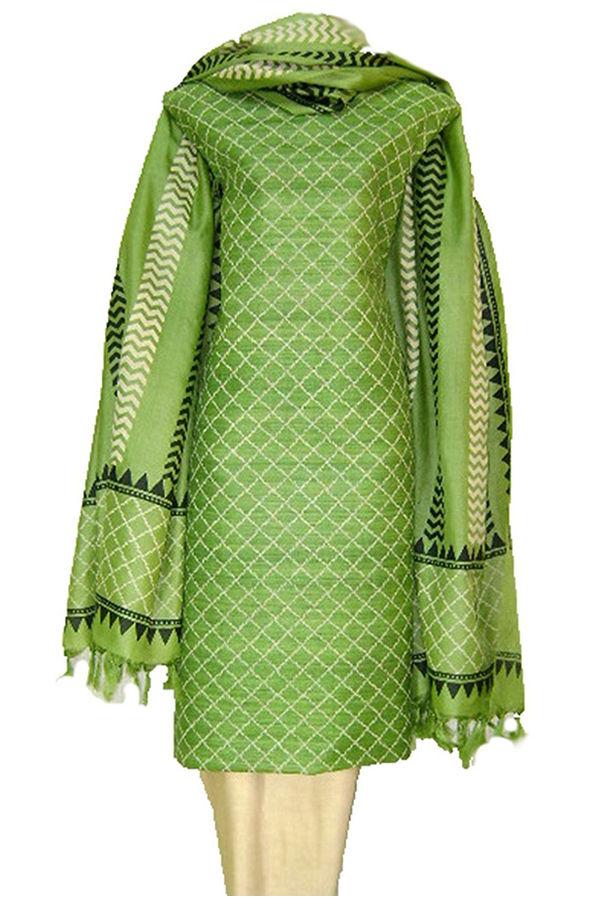 Geecha Tussar Silk Suit Block Printed in Pista Green Shade