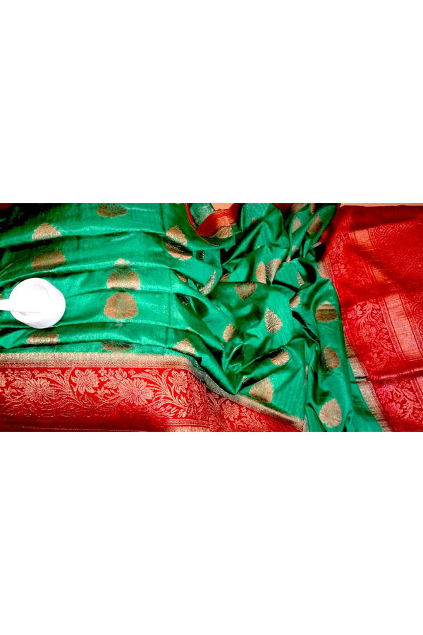 Green  Color Linen and Katan Silk Blend Saree with Contrast Border