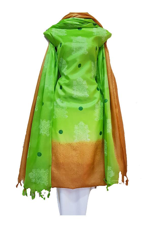 Block Printed Pure Tussar Silk Material in Orange and Green