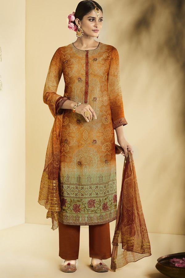 Orange Brown  Pure Bemberg Georgette Salwar Suit in digital print with embroidery