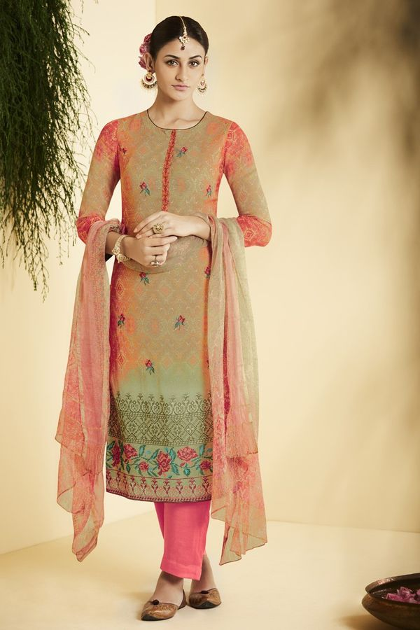 Pink Green Pure Bemberg Georgette Salwar Suit in digital print with embroidery