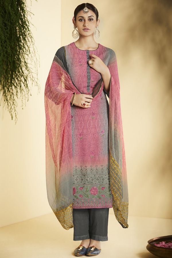 Pink Pure Bemberg Georgette Salwar Suit in digital print with embroidery
