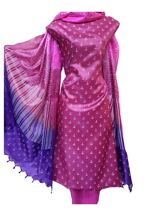 Block Printed Pure Tussar Silk Material in Magenta Color