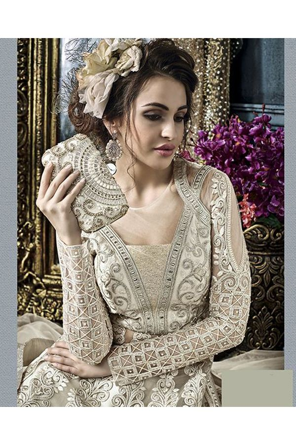 Ivory Grey Color Heavy Embroidered Indo Western Anarkali Suit