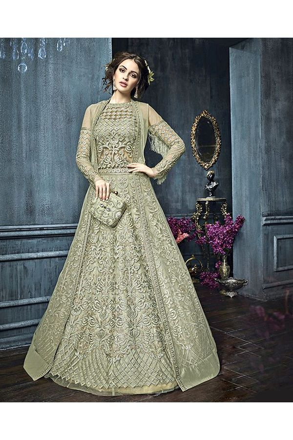 Green Color Heavy Embroidered Indo Western Anarkali Suit