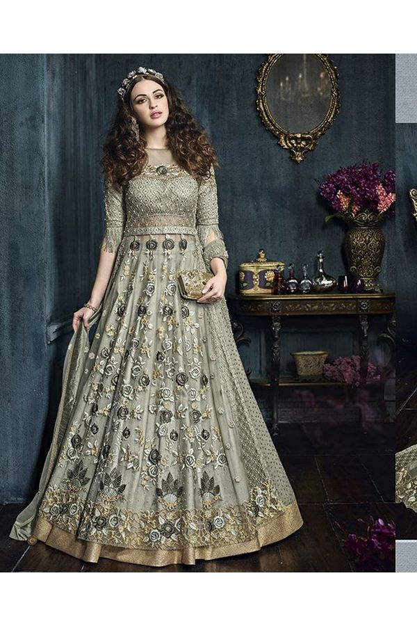 Light Green Heavy Embroidered Indo Western Anarkali Suit