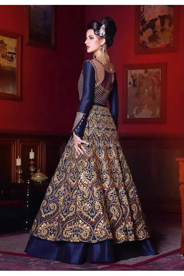 Dark Blue Long Indowestern Anarkali Gown