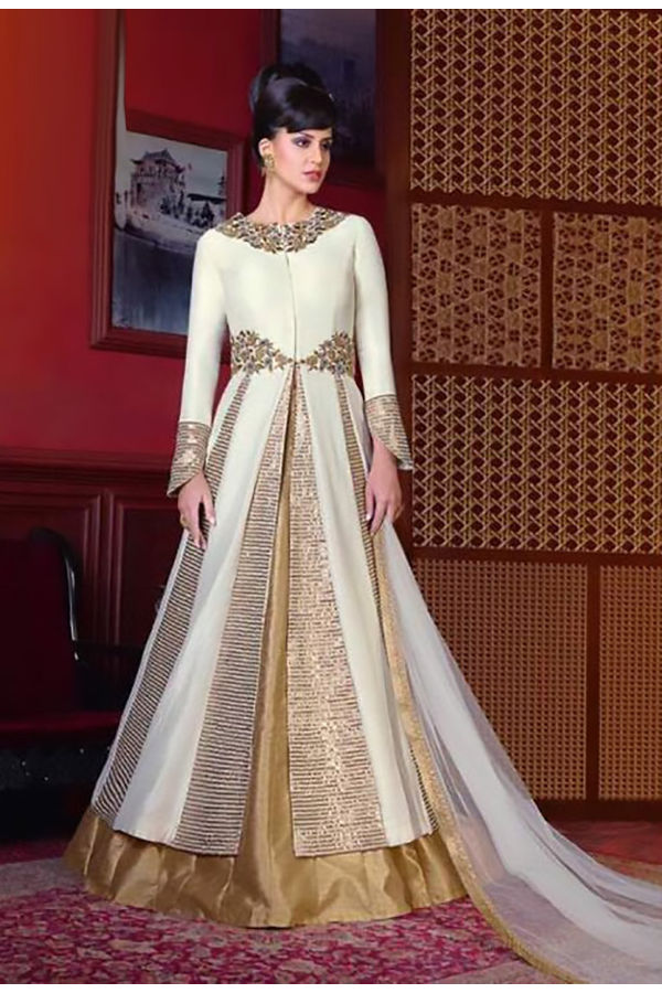 Off White Long Indowestern Anarkali Gown