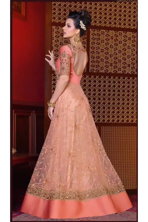 Peach Color  Long Indowestern Anarkali Gown