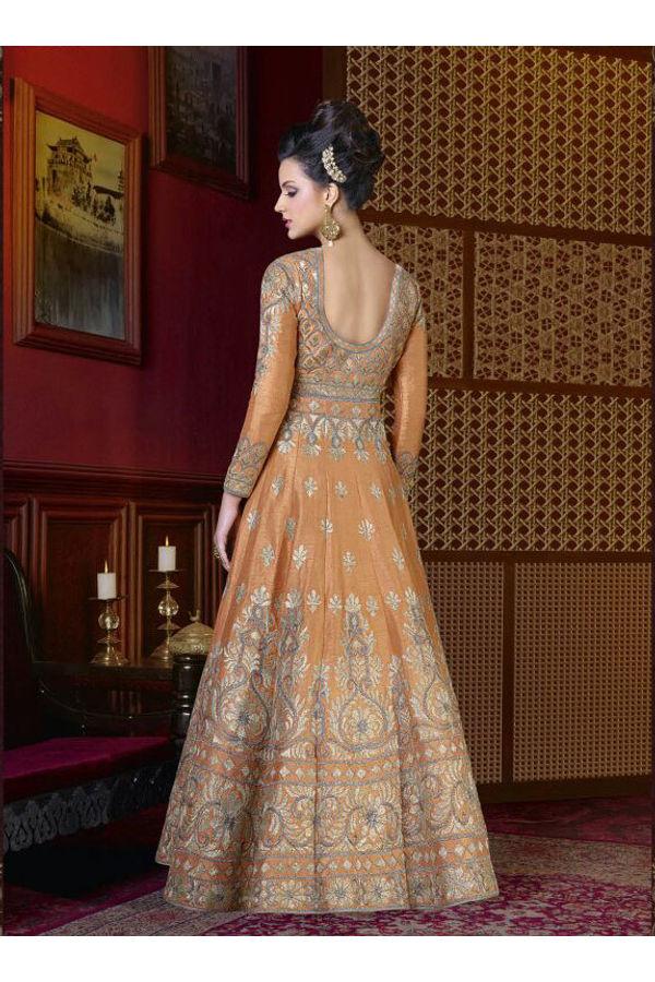 Orange Long Indowestern Anarkali Gown
