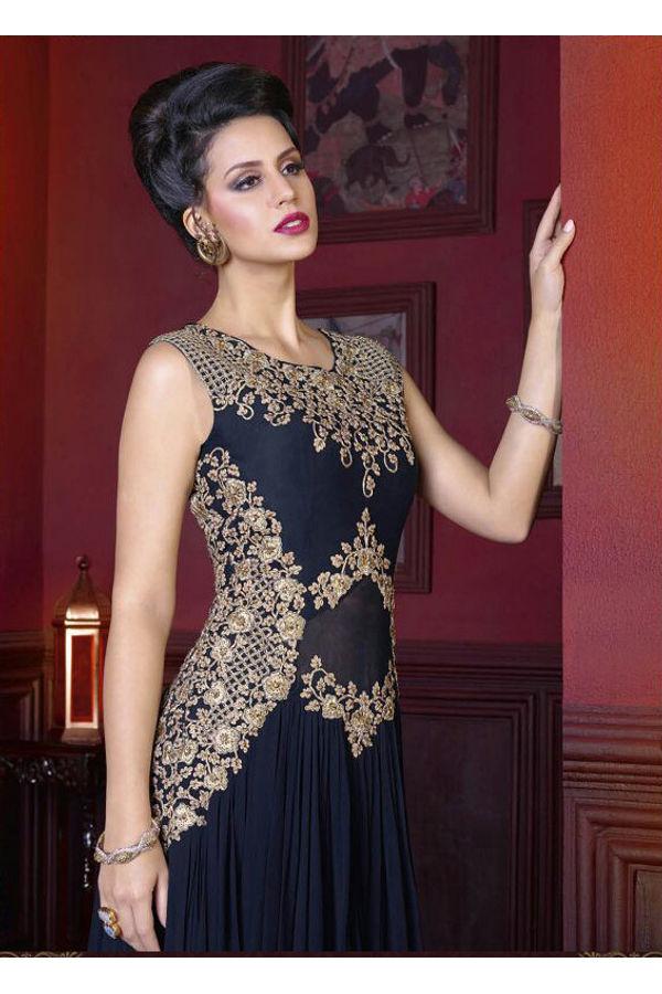 Deep Black  Long Indowestern Anarkali Gown