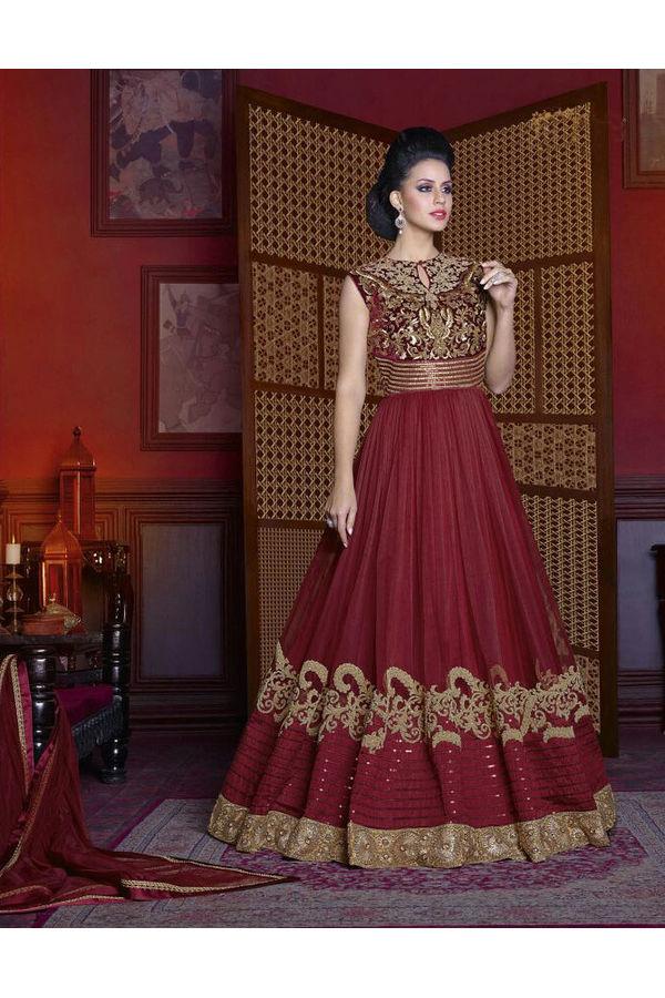 Maroon  Long Indowestern Anarkali Gown