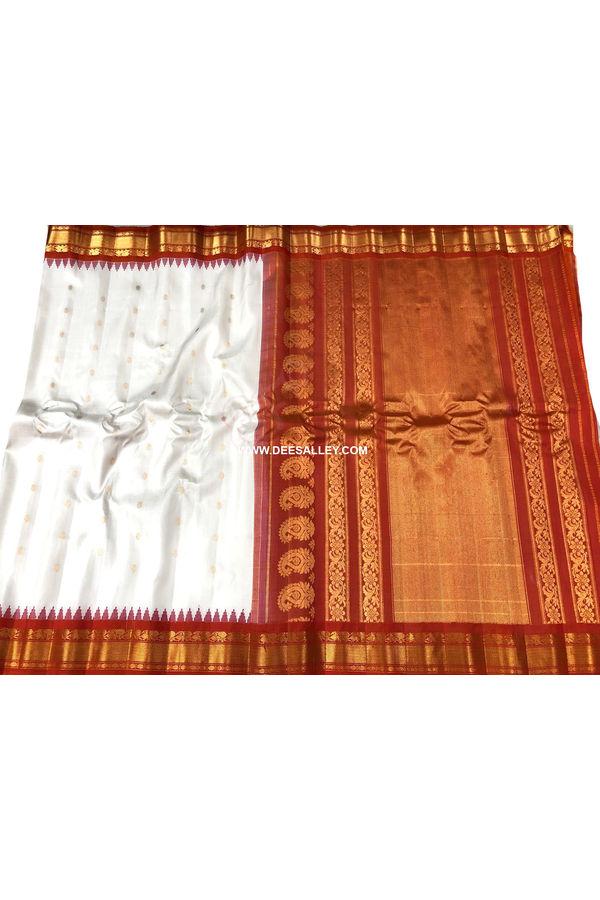 White Red  Pure Kanjeevaram Silk Wedding Saree - 100% Pure Silk