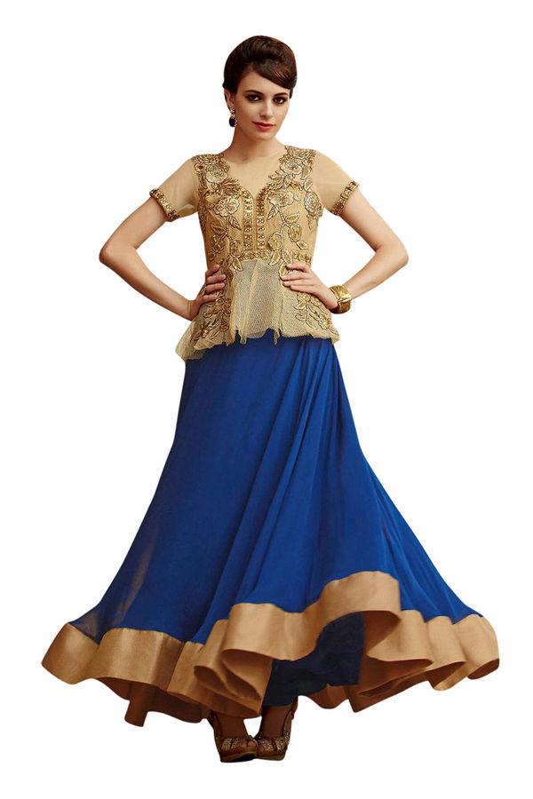 Blue and Golden Indowestern Anarkali Gown Salwar Suit