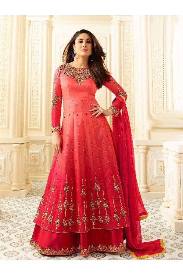 Kareena Kapoor Red Layered Long Anarkali Suit