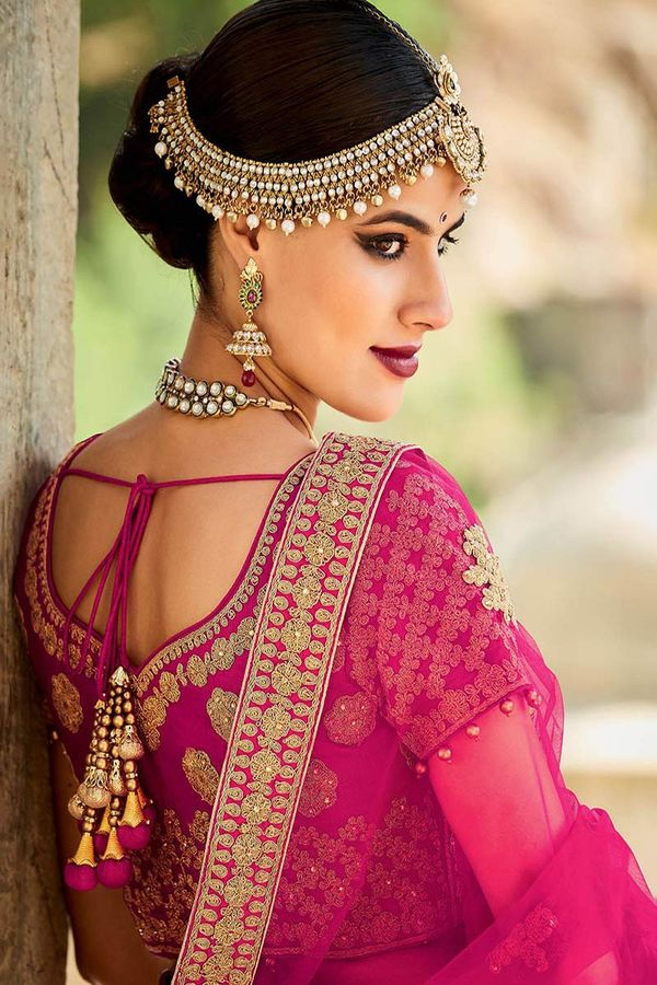 Magenta color silk Bridal Lehenga with Meenakari work