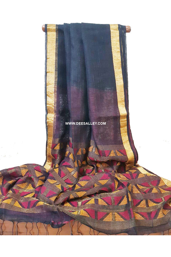 Dee's Alley  Pure Linen Silk Saree with  Jamdani work  in Teal Blue