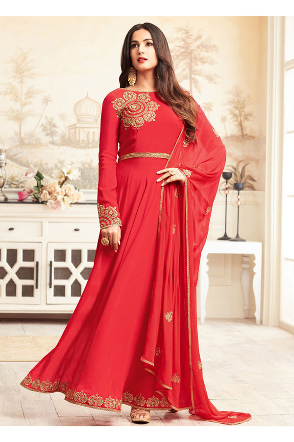 Indo-Western Front Open Slit Red Anarkali Suit with Pants